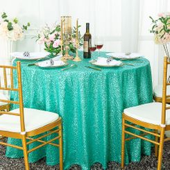 "132"" Round Sequin Taffeta Tablecloths - Tiff Blue / Aqua Blue 01418 (1pc/pk)"