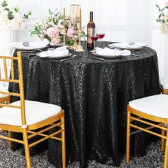 "132"" Round Sequin Taffeta Tablecloths - Black 01439 (1pc/pk)"