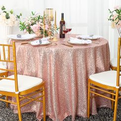 "132"" Round Sequin Taffeta Tablecloths - Blush Pink / Rose Gold 01415 (1pc/pk)"