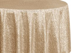 "132"" Round Sequin Taffeta Tablecloths - Champagne 01428 (1pc/pk)"