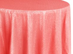 "132"" Round Sequin Taffeta Tablecloths - Coral 01406 (1pc/pk)"