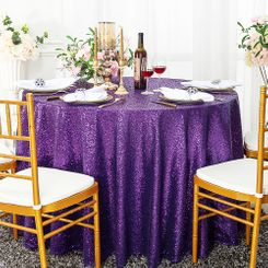 "132"" Round Sequin Taffeta Tablecloths - Eggplant 01445 (1pc/pk)"