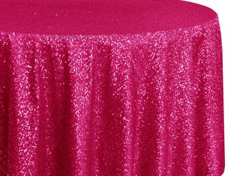 "132"" Round Sequin Taffeta Tablecloths - Fuchsia 01409 (1pc/pk)"