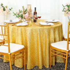 "132"" Round Sequin Taffeta Tablecloths - Light Gold 01403 (1pc/pk)"