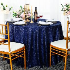 "132"" Round Sequin Taffeta Tablecloths - Navy Blue  01423 (1pc/pk)"