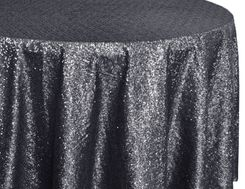 "132"" Round Sequin Taffeta Tablecloths - Pewter 01460 (1pc/pk)"