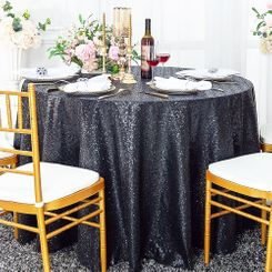 "132"" Round Sequin Taffeta Tablecloths - Pewter / Charcoal 01460 (1pc/pk)"