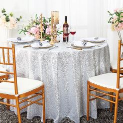"132"" Round Sequin Taffeta Tablecloths - Platinum 01471 (1pc/pk)"