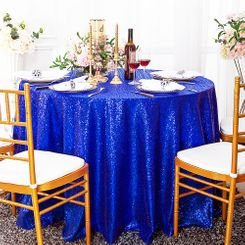 "132"" Round Sequin Taffeta Tablecloths - Royal Blue 01422 (1pc/pk)"