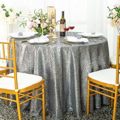 "132"" Round Sequin Taffeta Tablecloths - Silver 01440 (1pc/pk)"