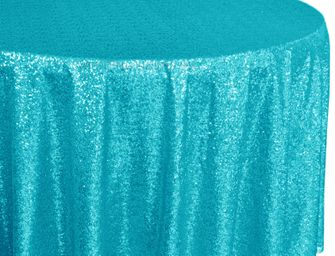 "132"" Round Sequin Taffeta Tablecloths - Turquoise 01485 (1pc/pk)"
