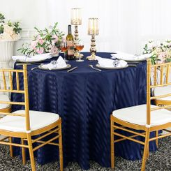 "132"" Round Striped Jacquard Polyester Tablecloths (7 colors)"
