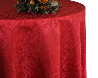 """132"""" Round Jacquard Damask Polyester Tablecloth - Apple Red 96708(1pc/pk)"""
