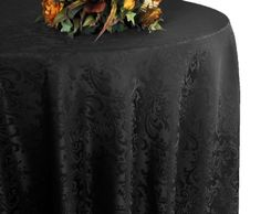 "132"" Round Jacquard Damask Polyester Tablecloth - Black 96739(1pc/pk)"