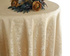 "132"" Round Jacquard Damask Polyester Tablecloth - Champagne 96728(1pc/pk)"