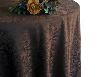 "132"" Round Jacquard Damask Polyester Tablecloth - Chocolate 96791(1pc/pk)"