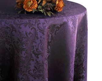 "132"" Round Jacquard Damask Polyester Tablecloth - Eggplant 96745(1pc/pk)"