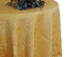 "132"" Round Jacquard Damask Polyester Tablecloth - Gold 96727(1pc/pk)"