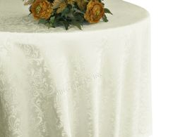"132"" Round Jacquard Damask Polyester Tablecloth - Ivory 96702(1pc/pk)"