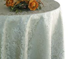 "132"" Round Jacquard Damask Polyester Tablecloth - Silver 96740 (1pc/pk)"