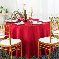 """132"""" Striped Jacquard Polyester Tablecloths - Apple Red 86708 (1pc/pk)"""