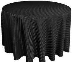 "132"" Striped Jacquard Polyester Tablecloths - Black 86739 (1pc/pk)"