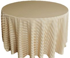 "132"" Striped Jacquard Polyester Tablecloths - Champagne 86728 (1pc/pk)"