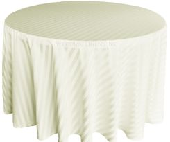 "132"" Striped Jacquard Polyester Tablecloths - Ivory 86702 (1pc/pk)"