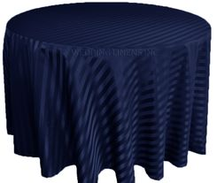 "132"" Striped Jacquard Polyester Tablecloths - Navy Blue 86723 (1pc/pk)"