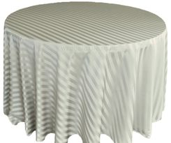 "132"" Striped Jacquard Polyester Tablecloths - Silver 86740 (1pc/pk)"