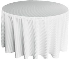 "132"" Striped Jacquard Polyester Tablecloths - White 86701 (1pc/pk)"