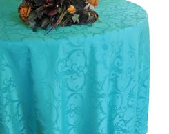 """132"""" Versailles Chopin Jacquard Damask Polyester Tablecloth - Turquoise 92785 (1pc/pk)"""