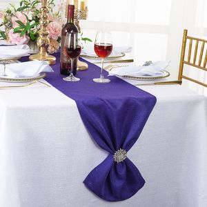 """13""""x 108"""" Sequin Paillette Poly Flax Table Runners (10 Colors)"""
