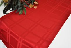 """14"""" x 108"""" Plaid Jacquard Polyester Table Runner - Apple Red (1pc)"""