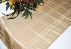 """14"""" x 108"""" Plaid Jacquard Polyester Table Runner - Champagne (1pc)"""