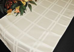 """14"""" x 108"""" Plaid Jacquard Polyester Table Runner - Ivory (1pc)"""