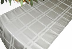 """14"""" x 108"""" Plaid Jacquard Polyester Table Runner - Silver (1pc)"""