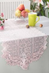 "16"" x 108"" Vintage Chantilly Lace Embroidered Table Runner - Blush Pink 90415 (1pc/pk)"