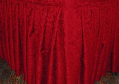 17' Apple Red Damask Jacquard Polyester Table Skirts - 75208 (1pc/pk)