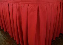 """17'x29"""" Accordion Pleat Polyester Table Skirts - Apple Red 72208 (1pc/pk)"""