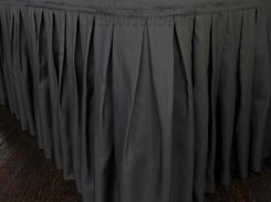"""17'x29"""" Accordion Pleat Polyester Table Skirts - Pewter 72260 (1pc/pk)"""