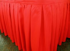 """17'x29"""" Accordion Pleat Polyester Table Skirts - Red 72212 (1pc/pk)"""