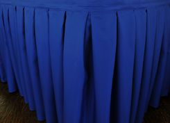 """17'x29"""" Accordion Pleat Polyester Table Skirts - Royal Blue 72222 (1pc/pk)"""
