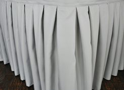 """17'x29"""" Accordion Pleat Polyester Table Skirts - Silver 72240 (1pc/pk)"""