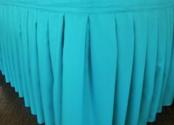 """17'x29"""" Accordion Pleat Polyester Table Skirts - Turquoise 72285 (1pc/pk)"""