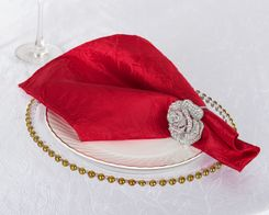 "20""x 20"" Crushed Taffeta Table Napkins - Apple Red 61308 (10pcs/pk)"
