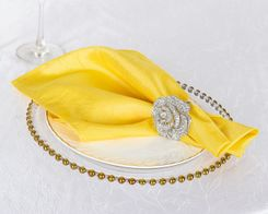 "20""x 20"" Crushed Taffeta Table Napkins - Canary Yellow 61316 (10pcs/pk)"