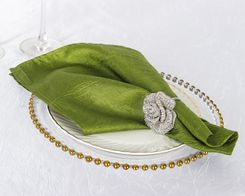 "20""x 20"" Crushed Taffeta Table Napkins - Moss Green 61317 (10pcs/pk)"