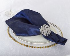 "20""x 20"" Crushed Taffeta Table Napkins - Navy Blue 61323 (10pcs/pk)"
