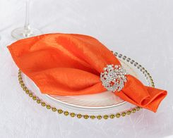 "20""x 20"" Crushed Taffeta Table Napkins - Orange 61333 (10pcs/pk)"